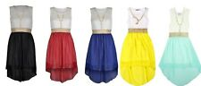 Girls Summer Chiffon Dress Lace Bodice Pearl Necklace Fishtail Party Dress 4-14
