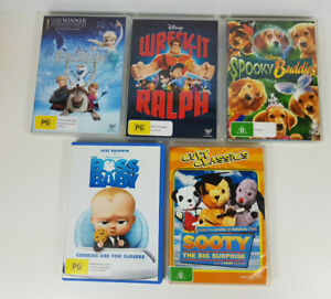 5 Pack of Kids DVDs Boss Baby, Sooty,  Frozen, Spooky Buddies, Wreck It Ralph