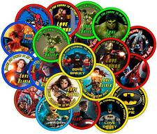 Personalised Party Bag Stickers.  Super Hero Theme