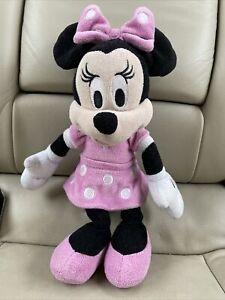Walt Disney SOFT MINNIE MOUSE IN PINK POLKA DOT DRESS Plush Stuffed Animal Toy