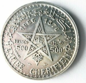 1956 MOROCCO 500 FRANCS - AU - High Value Silver Crown Coin - Lot #O13
