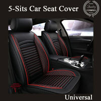 Standard Edition Black &  Red PU Leather Car Front + Rear Seat Cover Set Cushion