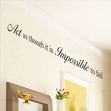Huhome PVC Wall Stickers Wallpaper English proverb Impossible personality living