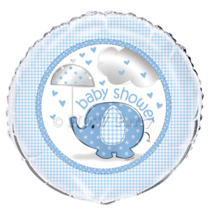 """Unique 18"""" Foil Balloon Blue Baby Shower Elephant - Sold Deflated"""