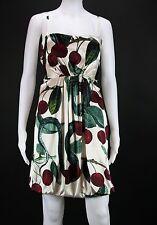 NEW $1745 ROBERTO CAVALLI SILK SNAKE CHERRY CORSET WHITE BELTED DRESS 44 - 6/8