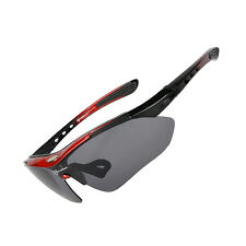 RockBros Cycling Outdoor Polarized Glasses Sunglasses Goggles 5 Lenses Black Red