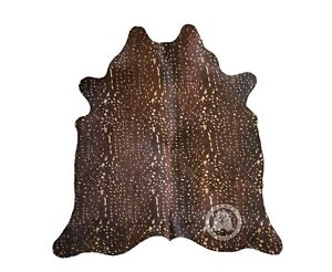 New Brazilian COWHIDE RUG Antelope on Caramel Cow Hide Cow Skin Leather