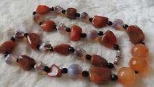 "Vintage Moss Carnelian Opaline Dendritic Agate Figural Bead 22"" Necklace"