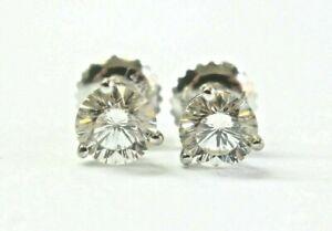 Round Diamond Stud Earrings Solid 14Kt White Gold I-VS2 SCREWBACK 1.00Ct