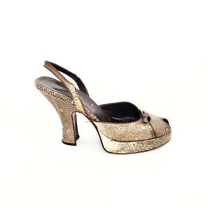 Vintage Prada Cream Beige Snakeskin Heels | 39.5