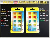 20PCS JEEP CAR FUSES SET ASSORTED SMALL BLADE * 5 7.5 10 15 20 25 30 AMP*