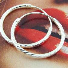 SLEEPER HOOP EARRINGS GENUINE REAL 925 STERLING SILVER DIAMOND CUT DESIGN