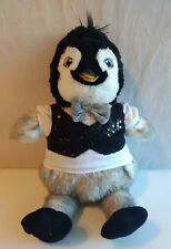"Babw Build-a-Bear 17"" Happy Feet 2 penquin with lighted bow tie Sequin vest"