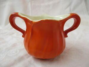 Mid Century Modern 1970's orange ceramic Sugar Bowl