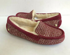 UGG ANSLEY FANCY BURGUNDY WINE SHEARLING MOCCASIN SHOE US 10 / EU 41 / UK 8.5