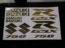 GOLD CHROME GSXR 750 10 PIECE  DECAL SET, suzuki gixxer fairing tank s tail