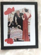 Lady Party🎊 Art 🖼 Deco Mixed Media Black Painted Wood Frame Kiki Modgling