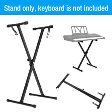 Adjustable Height Keyboard Piano X-Stand Electric Organ Metal Braced Rack Black