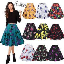 Women Floral Vintage Retro 50s Rockabilly Jive A Line Swing Skirt Mini Dress New