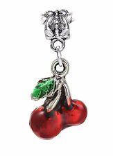 Red Cherries Green Enamel Fruit Food Dangle Charm for European Bead Bracelets