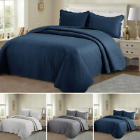 3 Piece Quilted Bedspread Bed Throw Set With Pillow Case Single Double King Size