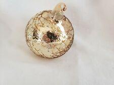 Ornament Christmas Gold Tone Glass Blown Unique Collectible