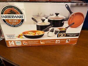 Farberware Reliance Pro 14pc Copper Ceramic Nonstick Cookware Set fast free ship
