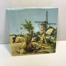 "New listing Vintage 1992 Royal Mosa Holland Porcelain Tile Windmill Farm 6""x6"" Ter Steege"