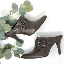 GIANNI BINI CLOGS MULES Brown LEATHER HEELS WOMENS SHOES SIZE 6.5 M booties