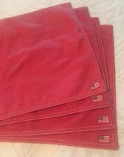 "Vintage Set Of 4 RALPH LAUREN Red Denim Placemats 12"" X 17"". American Flag."
