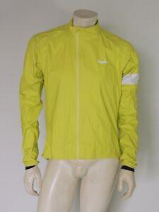 RAPHA Men's Nylon CORE RAIN JACKET II Neon Yellow BROKEN ZIPPER Size LARGE