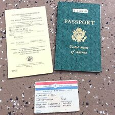 Passport Usa 1958 Stamped Vaccination Certificate Health Insurance Card Vintage
