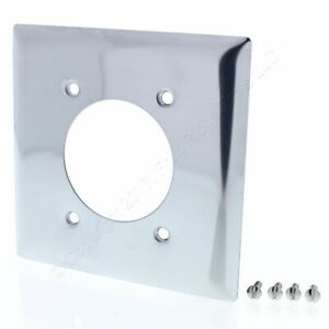 """PS Chrome Receptacle Wallplate Metal Outlet Cover 2-Gang 2.156"""" Opening S3862-C"""