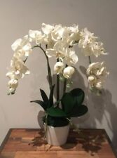 Artificial Fake Silk Flower White Phalaenopsis Orchid W Ceramic Pot 58cm H