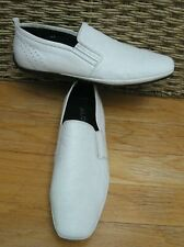 ALDO MEN'S WHITE LEATHER DRIVING MOCCASIN SLIP-ON LOAFERS SIZE 47 [13 US]