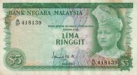 Vintage Malaysia Banknote 1967 - 1972 5 Ringgit Pick 2 Tough Note US Seller
