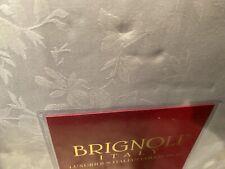 Brignoli King Duvet Cover + 2 King Shams Cotton Italy White Floral Jaquard