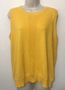 "NWT Liz Golf 2X Sleeveless Sweater Yellow Scoop Neck ""knit to shape"" Top $55"