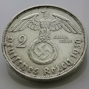 German 2 Reichsmark (1939 B) 0.625 silver coin Third Reich WW2