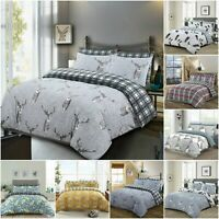 STAG DUVET COVER SET PRINTED QUILT BEDDING SET CHARCOAL GREY 100% COTTON DOUBLE