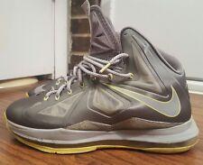 Nike Lebron X 10, 541100-007, Grey/Yellow, Mens Basketball Shoes, Size 10