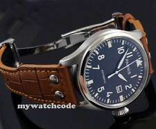 47mm parnis black dial big crown date seagull automatic movement mens watch P38