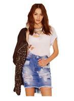 Ladies Ripped High-waisted Distressed Denim Mini Skirt w Frayed Hem 6 8 10 12 14