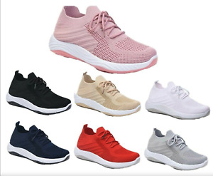 Ladies Women Trainers Breathable Memory Foam Lace Up Shoes Get Fit Go Gym Sports