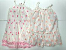 2 BONPOINT White Cotton Sundresses - Batik Floral Print - Size 4