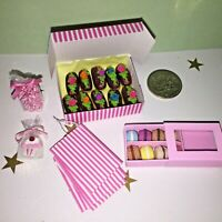 MINI **10 CHOCOLATE ECLAIRS in BOX +MACAROONS +CANDY +BAGS +COOKIE* BARBIE PARTY