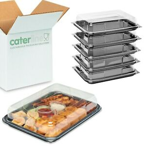 10 x Small Catering Platters/Trays & Lids | For Sandwiches, Buffets and Parties