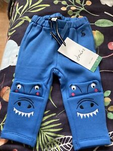 New Baby Boys Joules  Blue Dinosaur Fleece Linned Trousers, Age 6-9 Months