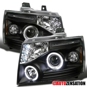 For 2007-2013 Avalanche Tahoe Suburban Black LED Halo Projector Headlights Lamps