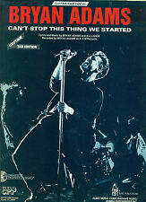 """BRYAN ADAMS """"CANT STOP THIS THING WE STARTED"""" GUITAR TAB/VOCAL SHEET MUSIC RARE!"""